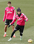Real Madrid's Lucas Silva (l) and Fabio Coentrao during training session.January 30,2015.(ALTERPHOTOS/Acero)