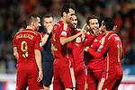 Spain's Paco Alacer, Sergio Busquets, Koke Resurreccion, Jordi Alba and Pedro Rodriguez celebrate goal during 15th UEFA European Championship Qualifying Round match. November 15,2014.(ALTERPHOTOS/Acero)