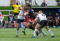Paulos Latu of London Broncos during the Betfred Challenge Cup match between London Broncos and York City Knights at The Rock, Rosslyn Park, London, England on 28 March 2021. Photo by Liam McAvoy.