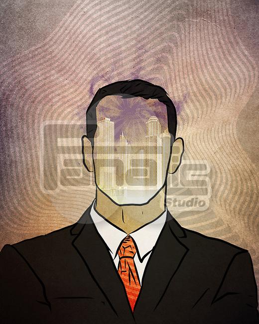 Illustrative image of buildings in businessman's face representing development