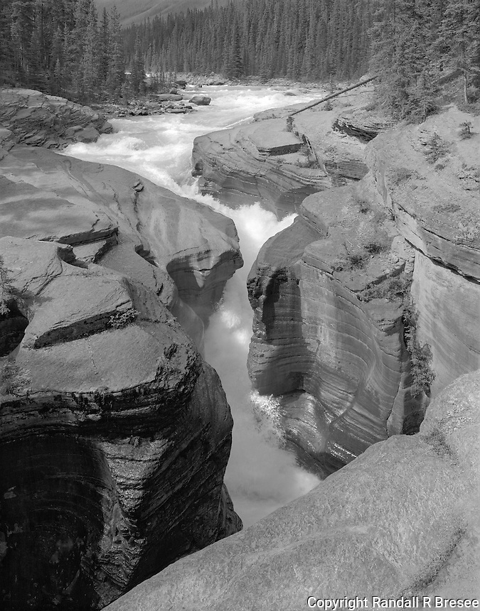 """""""Mistaya Canyon"""" <br /> Banff National Park; Alberta, Canada<br /> <br /> A 10 minute walk from the parking lot takes visitors to Mistaya Canyon where the water is brisk where the river is wide and gains even more speed when passing through the narrows. This photograph shows ferocious water flow through a spectacularly narrow gap between the rocks. I normally expose only one film for scenes but I exposed three negatives here because the fast water made it difficult to """"time"""" the action."""