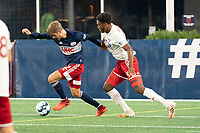 FOXBOROUGH, MA - OCTOBER 16: Justin Rennicks #12 of New England Revolution II brings the ball forward during a game between North Texas SC and New England Revolution II at Gillette Stadium on October 16, 2020 in Foxborough, Massachusetts.