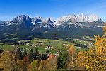Austria, Tyrol, Kaiserwinkl: autumn foliage and Wilder Kaiser mountains