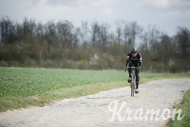 Bernie Eisel (AUT/Dimension Data) testing his bike on the worst cobbles over the whole parcours: sector 4: Carrefour de l'Arbre (2.1 km)<br /> <br /> recon of the 114th Paris - Roubaix 2016