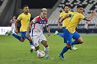 2nd July 2021; Nilton Santos Stadium, Rio de Janeiro, Brazil; Copa America, Brazil versus Chile; Thiago Silva of Brazil is turned by Eduardo Vargas of Chile