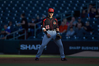 Rochester Red Wings first baseman Zander Wiel (12) on defense against the Charlotte Knights at BB&T BallPark on May 14, 2019 in Charlotte, North Carolina. The Knights defeated the Red Wings 13-7. (Brian Westerholt/Four Seam Images)