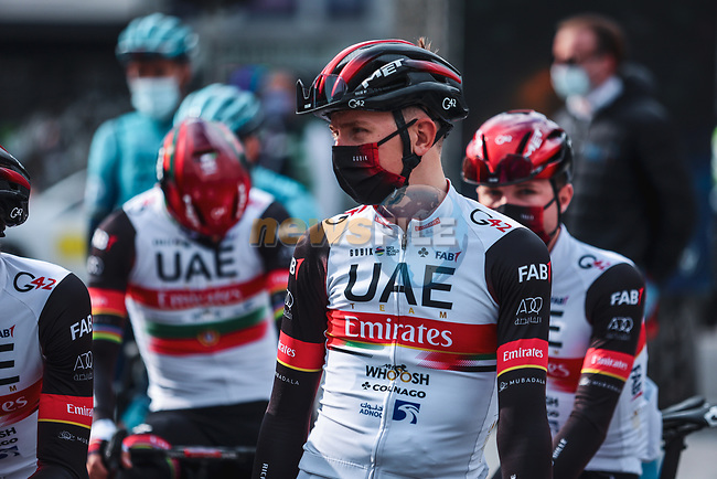 Tadej Pogacar (SLO) and UAE Team Emirates at the team presentations before the start of the 107th edition of Liege-Bastogne-Liege 2021, running 259.1km from Liege to Liege, Belgium. 25th April 2021.  <br /> Picture: A.S.O./Aurelien Vialatte   Cyclefile<br /> <br /> All photos usage must carry mandatory copyright credit (© Cyclefile   A.S.O./Aurelien Vialatte)