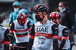 Tadej Pogacar (SLO) and UAE Team Emirates at the team presentations before the start of the 107th edition of Liege-Bastogne-Liege 2021, running 259.1km from Liege to Liege, Belgium. 25th April 2021.  <br /> Picture: A.S.O./Aurelien Vialatte | Cyclefile<br /> <br /> All photos usage must carry mandatory copyright credit (© Cyclefile | A.S.O./Aurelien Vialatte)