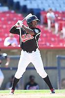 Jabari Henry #5 of the High Desert Mavericks bats against the Rancho Cucamonga Quakes at Stater Bros. Stadium on May 27, 2014 in Adelanto, California. High Desert defeated Rancho Cucamonga, 5-4. (Larry Goren/Four Seam Images)
