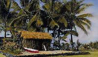 "Traditional Hawaiian home """"Hale pili"""" , handtinted archive photo"