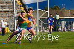 Paul Geaney, Kerry, in action against Cillian Rouine, Clare, during the Munster Football Championship game between Kerry and Clare at Fitzgerald Stadium, Killarney on Saturday.