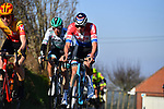 Dutch Champion Mathieu Van Der Poel (NED) Alpecin Fenix catches the breakaway of Artyom Zakharov (KAZ) Astana Premier-Tech, Maciej Bodnar (POL) and Patrick Gamper (AUT) Bora-Hansgrohe, Jonas Iversby Hvideberg (NOR) Uno-X and Tom Paquot (BEL) Bingoal Wallonie Bruxelles on Oude Kwaremtont during the 73rd edition of Kuurne-Brussel-Kuurne 2021 running 197km from Kuurne to Kuurne, Belgium. 28th February 2021  <br /> Picture: Serge Waldbillig | Cyclefile<br /> <br /> All photos usage must carry mandatory copyright credit (© Cyclefile | Serge Waldbillig)