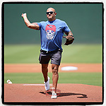 Greenville Police Officer Mauricio Reyes had good form while throwing out the first pitch on First Responders Day at the @GreenvilleDrive game July 11, 2021. Not to mention a cool t-shirt, too. (Tom Priddy?Four Seam Images)