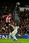 Thibaut Courtois of Real Madrid catch the ball during La Liga match between Real Madrid and Athletic Club de Bilbao at Santiago Bernabeu Stadium in Madrid, Spain. December 22, 2019. (ALTERPHOTOS/A. Perez Meca)