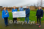 The Freeman family present a cheque for €10,000 to the Kerry Hospice Foundation on Monday, in memory of their father the late Liam Freeman, from their Movember Fundraiser.<br /> L to r: Mary Shanahan, Mairead Fernane, Daire, Alan and Conor Freeman.