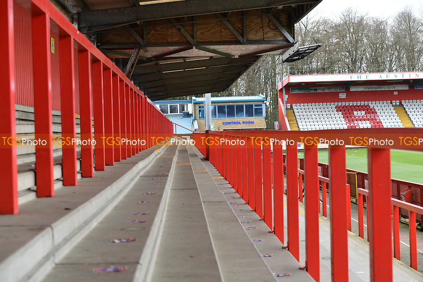 General view of the Lamex Stadium with no fans during Stevenage vs Barrow, Sky Bet EFL League 2 Football at the Lamex Stadium on 27th March 2021