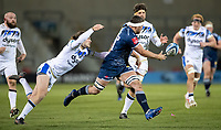 12th February 2021; AJ Bell Stadium, Salford, Lancashire, England; English Premiership Rugby, Sale Sharks versus Bath;  Jono Ross (C) of Sale Sharks releases the ball just before being tackled