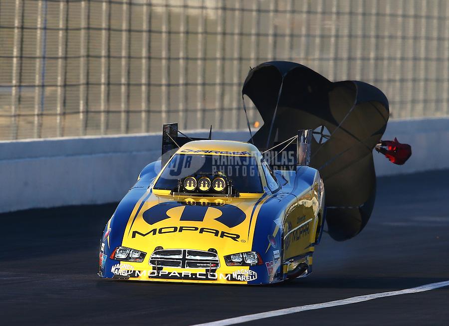 Nov 9, 2013; Pomona, CA, USA; NHRA funny car driver Matt Hagan during qualifying for the Auto Club Finals at Auto Club Raceway at Pomona. Mandatory Credit: Mark J. Rebilas-