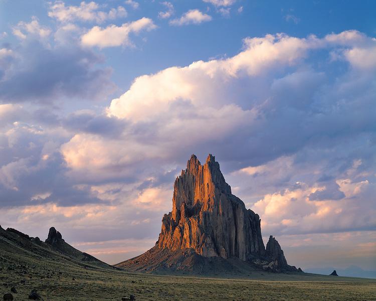 Sunset light on Shiprock; Navajo Nation, NM