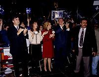 FILE -  Lucien Bouchard, Son epouse Audrey Best, Lisette Lapointe, Jacques Parizeau lorsque<br /> Les partisans du OUI  tiennent un grand rassemblement a l'auditorium de Verdun (date exacte inconnue)<br /> <br /> PHOTO : Agence Quebec Presse