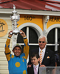 May 16, 2015:  American Pharoah with Victor Espinoza win the 140th  running of the Grade I Preakness Stakes for 3-year olds, going1 3/16 mile, at Pimlico Racetrack. Trainer: Bob Baffert. Owner: Zayat Stables. Sue Kawczynski/ESW/CSM