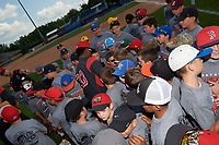 Batavia Muckdogs outfielder Terry Bennett (33) signs autographs during the teams youth baseball clinic on August 30, 2017 at Dwyer Stadium in Batavia, New York.  (Mike Janes/Four Seam Images)