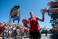 Hope Solo (1) of the USWNT takes the field before a friendly match at Sahlen's Stadium in Rochester, NY.  The USWNT defeated Costa Rica, 8-0.