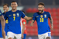 8th June 2021; Defensores del Chaco Stadium, Asuncion, Paraguay; World Cup football 2022 qualifiers; Paraguay versus Brazil;  Neymar of Brazil celebrates his goal with Richarlison in the 4th minute 0-1