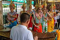 Bangkok, Thailand.  Erawan Shrine.  Dancers Perform Dances as a Blessing for Donors.