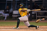 AZL Athletics shortstop Cobie Vance (16) follows through on his swing during an Arizona League game against the AZL Athletics at Camelback Ranch on July 15, 2018 in Glendale, Arizona. The AZL White Sox defeated the AZL Athletics 2-1. (Zachary Lucy/Four Seam Images)