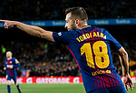 Jordi Alba Ramos of FC Barcelona celebrates the goal scored by Lionel Andres Messi during the Copa Del Rey 2017-18 Round of 16 (2nd leg) match between FC Barcelona and RC Celta de Vigo at Camp Nou on 11 January 2018 in Barcelona, Spain. Photo by Vicens Gimenez / Power Sport Images
