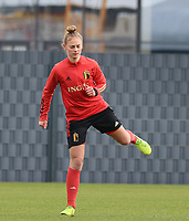 Margaux Van Ackere pictured during the training session of the Belgian Women's National Team ahead of a friendly female soccer game between the national teams of Germany and Belgium , called the Red Flames in a pre - bid tournament called Three Nations One Goal with the national teams from Belgium , The Netherlands and Germany towards a bid for the hosting of the 2027 FIFA Women's World Cup ,on 19th of February 2021 at Proximus Basecamp. PHOTO: SEVIL OKTEM | SPORTPIX.BE