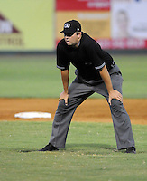 Appalachian League umpire Drew Maher in a game between the Elizabethton Twins and Bristol White Sox on August 18, 2011, at Joe O'Brien Field in Elizabethton, Tennessee. Elizabethton defeated Bristol, 13-3. (Tom Priddy/Four Seam Images)