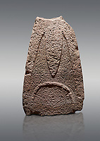 Late European Neolithic prehistoric Menhir standing stone with carvings on its face side. The representation of a stylalised male figure starts at the top with a long nose from which 2 eyebrows arch around the top of the stone. Excavated from Paule Luturru,  Samugheo. Menhir Museum, Museo della Statuaria Prehistorica in Sardegna, Museum of Prehoistoric Sardinian Statues, Palazzo Aymerich, Laconi, Sardinia, Italy. Grey background.