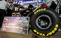 Nov. 13, 2011; Pomona, CA, USA; Detailed view of the championship check presented to NHRA top fuel dragster driver Del Worsham after winning the world championship at the Auto Club Finals at Auto Club Raceway at Pomona. Mandatory Credit: Mark J. Rebilas-.