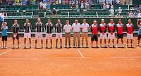 Austria, Kitzbühel, Juli 17, 2015, Tennis, Davis Cup, Presentation of the teams: team Austria left and team Netherlands<br /> Photo: Tennisimages/Henk Koster