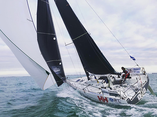 "Kenny Rumball and Pamela Lee will be competing in the Rolex Fastnet Race 2021 on their North Sails-powered Figaro 3 ""RL Sailing"""