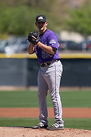 Colorado Rockies starting pitcher Will Gaddis (24) during a Minor League Spring Training game against the Los Angeles Angels at Tempe Diablo Stadium Complex on March 18, 2018 in Tempe, Arizona. (Zachary Lucy/Four Seam Images)