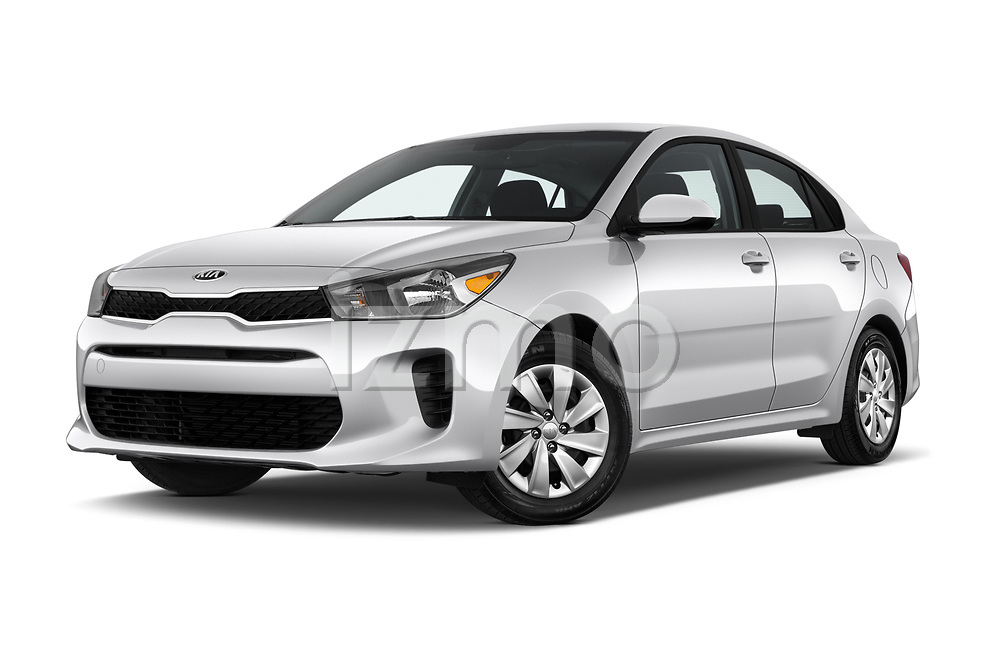 Stock pictures of low aggressive front three quarter view of a 2018 KIA Rio S 4 Door Sedan