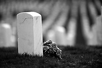 Black & white image of flowers by grave at Arlington National Cemetery. Washington DC District of Columbia United States Arlington National Cemetery.