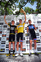 The top three at the end of the tour, from left: Stephen Williams (3), Ben O'Connor (1) and Mark O'Brien (2). NZ Cycle Classic stage five of the UCI Oceania Tour in Masterton, New Zealand on Saturday, 23 January 2016. Photo: Dave Lintott / lintottphoto.co.nz
