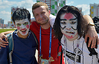 SARANSK - RUSIA, 19-06-2018: Hinchas de Japon animan a su equipo previo al partido de la primera fase, Grupo H, entre Colombia y Japón por la Copa Mundial de la FIFA Rusia 2018 jugado en el estadio Mordovia Arena en Saransk, Rusia. / Fans of Japan cheer for their team prior the match between Colombia and Japan of the first phase, Group H, for the FIFA World Cup Russia 2018 played at Mordovia Arena stadium in Saransk, Russia. Photo: VizzorImage / Julian Medina / Cont