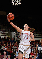 STANFORD, CA - DECEMBER 28: Jeanette Pohlen of Stanford women's basketball -- on the breakaway -- puts up a shot in a game against Xavier on December 28, 2010 at Maples Pavilion in Stanford, California.  Stanford topped Xavier, 89-52.