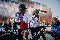 Eri Yonamine (JAP) after finishing the race<br /> <br /> WOMEN ELITE INDIVIDUAL TIME TRIAL<br /> Hall-Wattens to Innsbruck: 27.8 km<br /> <br /> UCI 2018 Road World Championships<br /> Innsbruck - Tirol / Austria