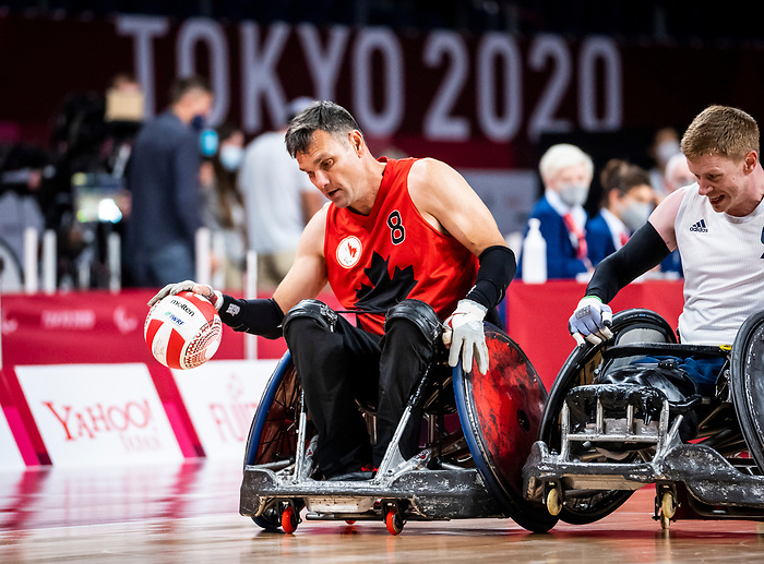 Michael Whitehead, Tokyo 2020 - Wheelchair Rugby // Rugby en fauteuil roulant.<br /> Canada takes on Great Britain in the preliminary round // Le Canada affronte la Grande-Bretagne au tour préliminaire. 25/08/2021.
