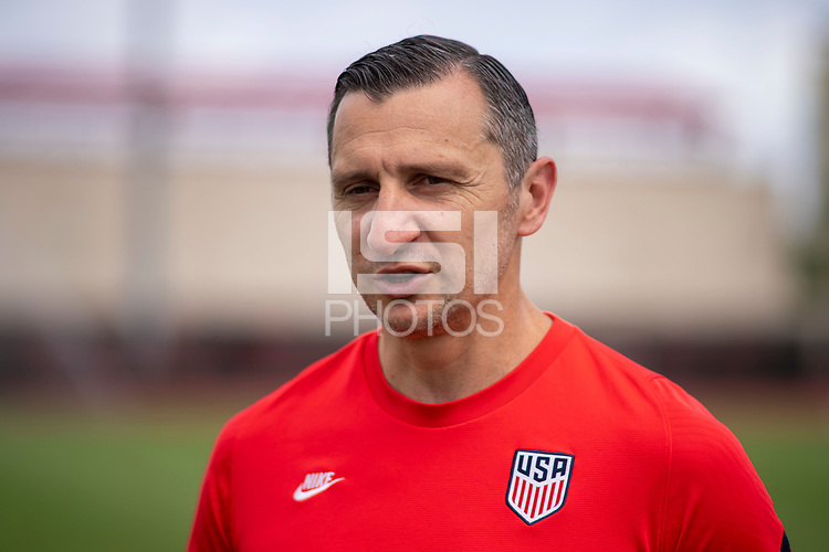 HOUSTON, TX - JUNE 8: Vlatko Andonovski of the USWNT records an interview before a training session at the University of Houston on June 8, 2021 in Houston, Texas.