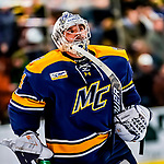26 January 2019: Merrimack College Warrior Goaltender Logan Halladay, a Sophomore from Cary, NC, prepares to start the second period against the University of Vermont Catamounts at Gutterson Fieldhouse in Burlington, Vermont. The Warriors fell to the Catamounts 4-3 in overtime after tying up the game in the dyeing seconds of the third period of their America East conference game. Mandatory Credit: Ed Wolfstein Photo *** RAW (NEF) Image File Available ***