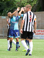 Luke O'Niel of Wycombe Wanderers (17) celebrates with Garry Thompson of Wycombe Wanderers  after scoring to make it 1-2 during the Friendly match between Maidenhead United and Wycombe Wanderers at York Road, Maidenhead, England on 30 July 2016. Photo by Alan  Stanford PRiME Media Images.