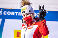 13th February 2021, Cortina, Italy; FIS World Championship Womens Downhill Skiing;  Tamara Tippler of Austria reacts after for womens Downhill Race