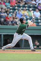 Catcher Ty Ross (26) of the Augusta GreenJackets bats in a game against the Greenville Drive on Friday, July 11, 2014, at Fluor Field at the West End in Greenville, South Carolina. Greenville won, 7-6. (Tom Priddy/Four Seam Images)
